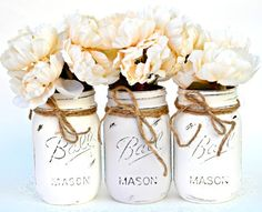 white mason jar flower vase