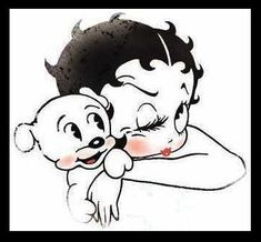 Betty Boop and Pet Dog Pudgy Vintage Cartoon Characters Giclée Printed Art Sew on 3 x 3in Twill Patch Size Free S/H MBG