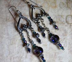Crystal Beaded Earrings, Chandelier Earrings, Handmade Earrings, Gift for Her, Bohemian Earrings, Boho Earrings, Accessories, Jewelry