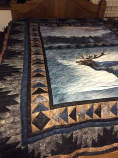 Call of the wild elk quilt with flying geese and delectable mountains Big Block Quilts, Quilt Block Patterns, Star Quilts, Quilt Blocks, Fabric Panel Quilts, Bed Quilts, Country Quilts, Western Quilts, Wildlife Quilts