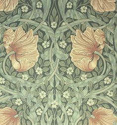 Pimpernel Wallpaper Classic floral wallpaper with windblown flower heads in beige and russet with green leaves on a dark green background.