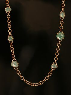 Pomellato 18KT Pink Gold Capri Necklace with Chrysoprase and Rock Crystal. Available at London Jewelers.