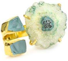 "Zariin ""The Tale of Three Stones"" Blue Druzy Gold Ring"
