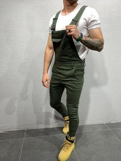 pujingge Mens Stylish Ripped Holes Slim Harem Jeans Multi-Pockets Denim Pants