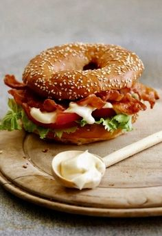 Bacon salad stuffed bagel
