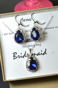 Navy blue,sapphire blue Wedding Jewelry Bridesmaid Gift Bridesmaid Jewelry Bridal Jewelry tear Earrings & necklace SET,bridesmaid gift by thefabbridaljewelry on Etsy https://www.etsy.com/listing/189822685/navy-bluesapphire-blue-wedding-jewelry
