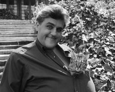 Jay Leno and his cat...thanks Jay for all the late night laffs and your  cat's antics...gonna miss you:(