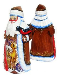 Deer Hand Carved Wooden Santa in Brown #babooshkadoll #stackingdoll #nestingdolls #nestingdoll #matryoshka #Russiandoll #babushka #Woodendolls #Russianbox #lacquerbox #Russiantoy #Russiangifts #nesteddoll #dollindoll Russian Santa, Unique Gifts For Kids, Hand Painted Gourds, Wooden Dolls, Wood Carving, Hand Carved, Watercolor Paintings, Deer, Handmade