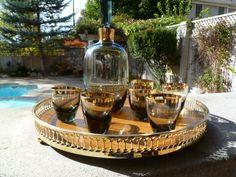 Mid Century Decanter Set, Smokey Quartz with Gold accents, 6 Glasses- 1/5/2014