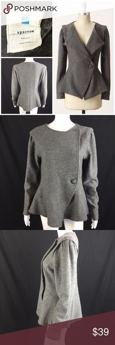 """Sparrow Acclimate Sweater Sz L Gray Wool Peplum *  Sparrow Acclimate Sweater ~ Sz L ~ Gray Wool Peplum Button-Front Cardigan for Anthropologie  * A snuggly wool layer that plays jacket in cool weather, toasty cardigan in the coldest chill. By Sparrow.  * Please see below for measurements; all measurements taken with garment lying flat.  Please see all photos for complete condition assessment.  Shoulder to Shoulder: 18""""  Armpit to Armpit (Bust): 20""""  Waist: 18""""  Overall Length: 27""""  Sleeve…"""