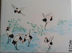 """Peinture sur porcelaine, tableau de Plume Magicienne. Aujourd'hui : """" grues avant la migration""""."""