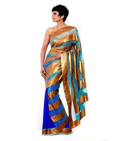 Mandira Bedi Blue Pure Georgette Saree, http://www.snapdeal.com/product/mandira-bedi-blue-pure-georgette/677850671966
