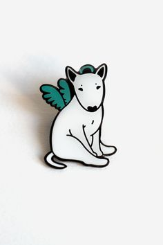Bull Terrier pins Set of two brooches Angel and Demon