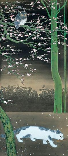 """Spring Night by Seiju Omoda, Japan, 1891-1933 """"He is called """"Poetic Painter"""". Not only Nature, he painted Insects, Animals and Fishes etc.. in silent poetic sentiment. They also contain the sence of humor."""""""