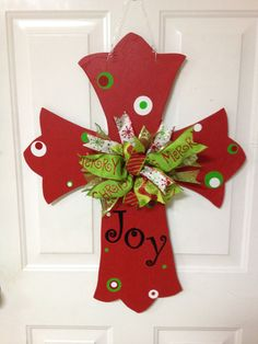 Christmas cross wooden door hanger by FormyKingJesus on Etsy