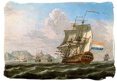 The Noord-Nieuwland in Table Bay, 1762 painting with Table Mountain in the background - History of Cape Town South Africa, Cape of Good Hope History Rembrandt, Cape Colony, Le Cap, East India Company, Dutch East Indies, New York Life, History Online, Remo, Armada