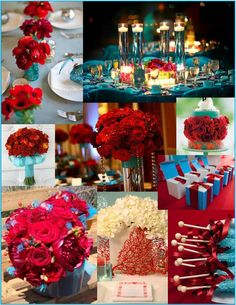 Red &turquiose wedding. I would have never thought to put these colors together. I love the way this looks.