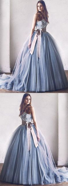 Princess A-Line Strapless Gray Blue Tulle Ball Gown Long Prom/Evening Dress with Bowknot #prom #dresses #longpromdress #promdress #eveningdress #promdresses #partydresses #2018promdresses #ballgown #eveninggown #promgown