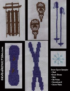 Snow sport cross stitch sampler $5 instant download for 6 designs skis, ski poles, sled, snow shoes, snowboard and snowflake - Eve of Reduction