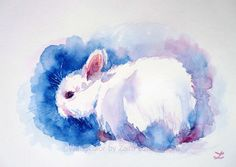 ARTFINDER: White Rabbit by Zaira Dzhaubaeva - Original watercolor painting on paper.  White bunny in impressionist style.  Please note that the colors of the original paintings are always slightly di...