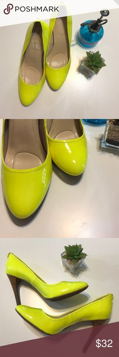 Calvin Klein neon yellow heels Need a pop of color?  Here it is.  Awesome shoes in GUC. Bundle for best deals. Calvin Klein Shoes Heels