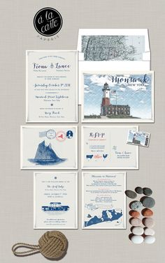Montauk New York Wedding Invitation Suite  by alacartepaperie
