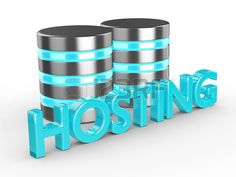Database 3d with hosting text isolated on white background