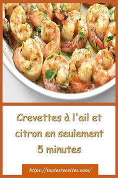 Crevettes à l'ail et citron préparées en 5 minutes Garlic Butter Shrimp, Entrees, Potato Salad, Potatoes, Ethnic Recipes, Minimum, Healthy Recipes, Diet, Cooking Recipes