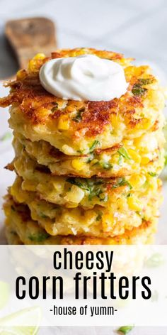These easy to make fritters are loaded up with fresh corn, flavor, and most importantly cheese! Fried in a small amount of olive oil, these fritters are the perfect way to enjoy the flavors of summer! Corn Dishes, Veggie Dishes, Vegetable Recipes, Vegetarian Recipes, Cooking Recipes, Vegetarian Cheese, Curry Recipes, Food Network Recipes, Zucchini Zoodles