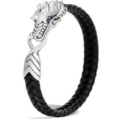 John Hardy Men's Sterling Silver Legends Naga Bracelet with Braided... ($495) ❤ liked on Polyvore featuring men's fashion, men's jewelry, men's bracelets, mens woven bracelets, mens sterling silver bracelets, mens bracelets, mens woven leather bracelets and mens leather bracelets