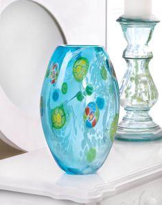 BLUE FLORAL GLASS VASE
