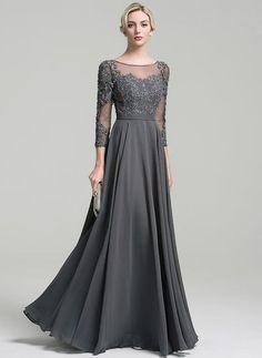 dd6120c7b9ee A-Line Princess Scoop Neck Floor-Length Chiffon Mother of the Bride Dress