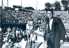 John F. Kennedy gives a presidential campaign speech at Atwood Stadium in Flint, Michigan Flint Michigan, State Of Michigan, Lake Michigan, The Mitten State, Kennedy Assassination, 22 November, Michigan Travel, John F Kennedy, Great Lakes