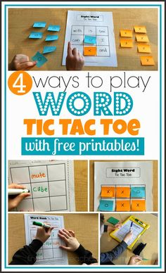 Fun! 4 Ways to play word tic tac toe. Great ideas for literacy centers or sight word games.