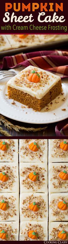 Pumpkin Sheet Cake with Cream Cheese Frosting - a cookie sheet full of pumpkin cake?? Yes please! This is one of the best pumpkin cakes you'll ever eat!!