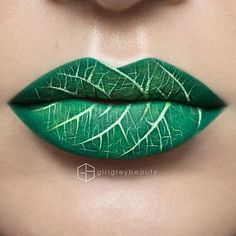 Makeup details: Lip colour is done with @frontrowcosmetics eye shadows. Leaf veins done with @sedonalace White Gel Liner. Brushes: @smithcosmetics.
