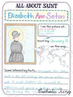 Printable Saint report page for Catholic kids.