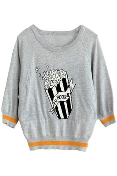 Popcorn Long-Sleeves Knit Sweater
