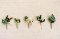 Succulent Wedding Boutonniere #succulent #wedding #boutonniere Photo by Jose Villa Flowers by Brown Paper Design