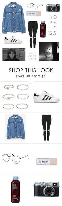 """""""the breakfast club"""" by sophscar ❤ liked on Polyvore featuring Forever 21, adidas, Zara, Topshop, Ray-Ban, Kara and Fujifilm"""