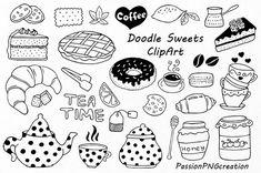 Big Set of Doodle Sweets clipartTea time clip art Dessert