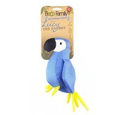 Morbido giocattolo per cani 100% naturale ed ecologico, a forma di pappagallo di nome Lucy color turchese: riempito con fibre derivate dal riciclo delle bottiglie di plastica, doppie cuciture per renderlo durevole e resistente e suono (squeaker) all'interno.
