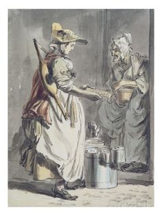 London Cries: a Milkmaid, C.1759 (Pen and Ink Brush, W/C and Graphite on Paper) Giclée-Druck von Paul Sandby bei AllPosters.de