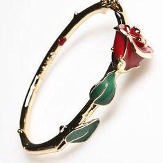 Kidada Gold Plated Beauty & The Beast Rose Enamel Bangle | Disney Couture Jewelry | 80's Purple