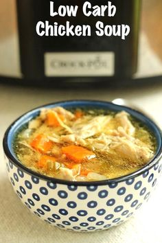 3SPLow Carb Chicken Soup: Slow Cooker ...for low carbohydrate diet plans are meats and a few vegetables. Now if you are like most health conscious people you know that following a diet of o... with 2 Tbsp. low carb dressing; one serving of broth based soupDinner: 6 oz. steak; baked potato with a pat of butter; side salad with low carbohy #keenrecipes.com #keto-chicken-soup #keto Slow Cooker Huhn, Low Carb Slow Cooker, Healthy Slow Cooker, Slow Cooker Recipes, Low Carb Recipes, Healthy Recipes, Small Slow Cooker, Yummy Recipes, Diet Recipes