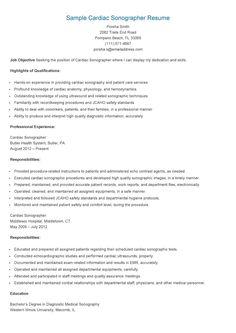 sample cardiac sonographer resume - Ultrasound Resume