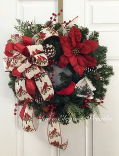 Cardinal Christmas Wreath. Holiday Wreath.  Cardinal with birdhouse.  Holiday…