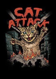 Crazy Cat Lady, Crazy Cats, Cat Attack, Ecole Art, Alien Art, Cat Drawing, Graphic Design Illustration, Cat Art, Collage Art