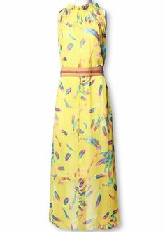 Yellow Sleeveless Feather Print Belt Silk Dress - Sheinside.com