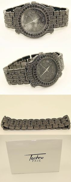 Other Mens Jewelry 177770: Mens Watch And Bracelet Set Techno Pave Iced Out Black Finish BUY IT NOW ONLY: $85.0